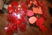Lot 32 Vintage Cookie Cutters Red And Orange Plastic Halloween Christmas Easter