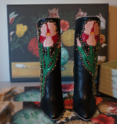 A/w 2017 Andldquofoscaandrdquo Black Floral Applique Studded Crystal Leather Boots
