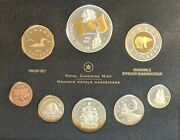 Canada 2005 Proof Set / Canadian Flag Gold Plated - 8 Coins Incl 5 Silver Coins