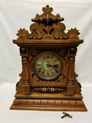 Antique Ingraham Oak Cabinet Clock. With Key. In Working Condition And Serviced