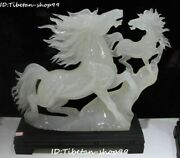 19 Top Natural Jade Carving Fengshui Double Running Horse Horses Animal Statue