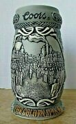 Coors Beer Stein - 2001 The Golden Spike 2nd In Series Of Steins - Mint W/coa