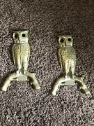 Antique Solid Brass Owls Andirons In Perfect Condition