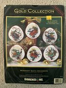 Dimensions Gold Collection Windswept Santa Ornaments Cross Stitch Kit 8530 New