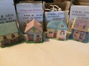 Lot Of 4 Ceramic Easter Village Lighted Houses Bakery Grocery Toy Flower Store