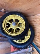 Vintage Antique Graham Brothers Truck Wheels With Dust Covers