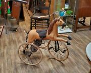 Antique Victorian Horse Carved Wood Horse Ornate Cast Iron Frame Pedal Tricycle