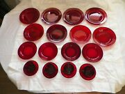 Vintage Ruby Red Orcoroc France Depression Glass 4 Place Set Free Shipping