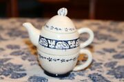 Dedham Potting Shed Teapot W/ Cup And Egg Lid Blue Pottery Easter Bunny Rabbit
