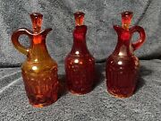 3 Vintage Le Smith Moon And Star Amberina Glass, Oil Cruet Bottles With Tops