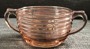 Vintage Depression Ware Sugar Bowl Oval Ribbed Pink Two Handles Thick Glass Euc