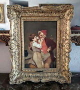 Antique 19th C. Oil Painting Portrait Grandfather And Grandson Signed Framed Art