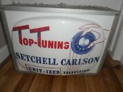 Rare Setchell Carlson Television Tv Lighted Hanging Advertising Retro Sign