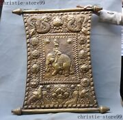 Buddhism Silver Gilt Red Coral Turquoise Elephant Exorcism Wall Hanging Thangka