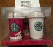 New 2006 Starbucks Christmas Ornament Red White Coffee Cups To Go Holiday 236294
