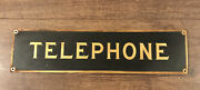 Original Antique Vintage Brass Telephone Booth Sign Train Bus Station Theater