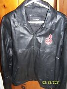 Indians Chief Yahoo Patch On Menand039s Size Xl 50 Black Leather Jacket/lined
