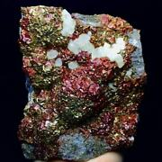 1978grare Red/yellow Pyrite Crystal And Dog Tooth Calcite Cluster Mineral Specimen