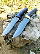 Handmade Drop Point Knife Fixed Blade Hunting Tactical Survival Damascus Steel S