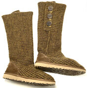 Ugg Classic Cardy Brown Button Detailed Knit Knee High, Ankle Boots Size 7