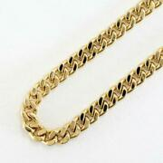 18k Yellow Gold Necklace About44cm Curb Chain 2sides Free Shipping Used