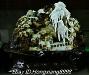 18and039and039 Rare Natural Xiu Jade Carved Cedar Tree Bridge House River Shan Zi Statue