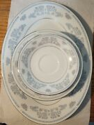 Liling Fine China Yung Shen Ling Dorchester Pattern Set Of 6 Blue Silver Stripe