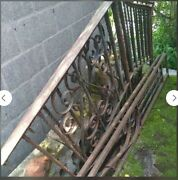 Antique Outdoor Wrought Iron Railing Set 68 Long. Side Pieces Are 9ft Long.