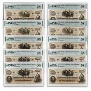 1862 100 T-41 Slaves Hoeing Cotton Au-58 Pmg 10 Consec Notes - Sku230084