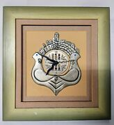 Silver Judaica Plated Watch Wall Clock Vintage Frame Wood Powered Battery Cute