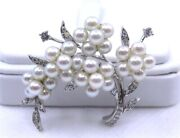 Vintage Rare Honora 14k White Gold Cultured Pearl And Diamond Tree Brooch Pin
