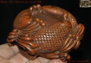 Old Chinese Boxwood Woodcarving Fish Ancient Calligraphy Tool Brush Wash Statue