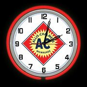 19 Allis Chalmers Ac Milwaukee Old Logo Sign Red Double Neon Clock Farm Tractor