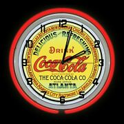 19 Drink Coca Cola Coke Atlanta Sign Double Red Or Yellow Neon Clock