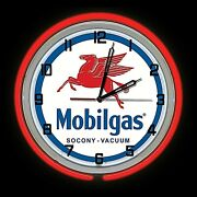 19 Mobil Gas Socony Vacuum Sign Red Double Neon Clock Man Cave Garage Oil