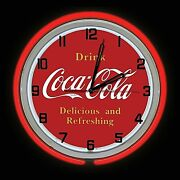 19 Drink Coca Cola Delicious And Refreshing Sign Double Neon Clock Red Coke