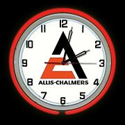 19 Allis Chalmers Sign Red Double Neon Clock Man Cave Garage Shop Farm Tractor