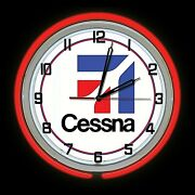 19 Cessna Aircraft Logo Sign Red Double Neon Clock Airplane Hanger Man Cave