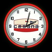 19 Cessna Aircraft Early Logo Sign Red Double Neon Clock Airplane Hanger Cave