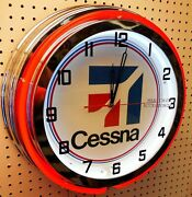 19 Cessna Aircraft Sign Double Neon Clock Airplane Aviation Chrome Finish