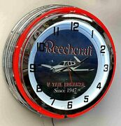Beechcraft Bonanza V Tail Sign 19 Double Neon Clock Airplane Aircraft Red Neon