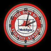 19 Mobil Gas Oil Friendly Service Sign Double Red Neon Clock Gasoline Mobilgas