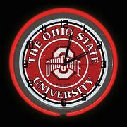 19 Ohio State University Sign Football Red Double Neon Clock Carbon Fiber Look