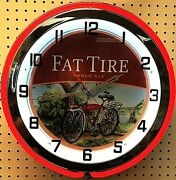 18 Fat Tire Amber Ale Sign Double Neon Clock