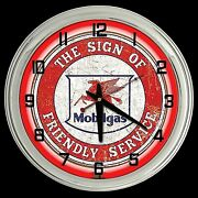 16 Mobil Gas Oil Friendly Service Sign Red Neon Clock Gasoline Mobilgas