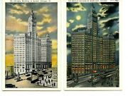 Wrigley Building Night And Sunset-chicago-illinois-vintage W/b Postcard Lot Of 2