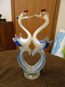 Vintage Murano Hand Blown Glass Swans With Heart Shape, Blue/white.10.25