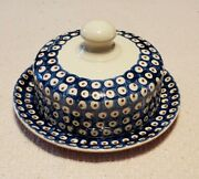 Vintage Boleslawiec Polish Redware Pottery Dome Covered Plate Cheese Dish