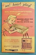 1954 Toy In Store Display Ad Music Instrument Eltronovox Electronic Organ Radio