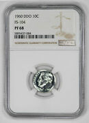 1960 Ddo Proof Roosevelt Dime 10c Fs-104 Ngc Certified Pf 68 Uncirculated 084